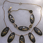 Japanese Gold inlay Shakudo demi-parure Necklace Bracelet & Earrings