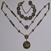 Signed Japanese Gold inlay Shakudo Necklace & Bracelet demi-parure