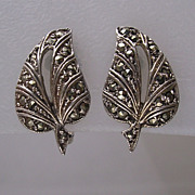 Art Deco Silver Marcasite Leaf Earrings