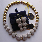 Fabulous Vintage Crystaline Crystal Hearts Collar Necklace & Earrings