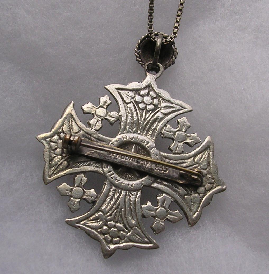 vintage 935 silver jerusalem cross brooch pendant chain