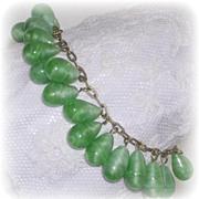 Gorgeous Art Deco Jade Green Satin Glass Bead Charm Bracelet