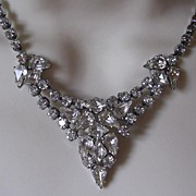 Gorgeous Art Deco Rhinestone Collar Pendant Necklace