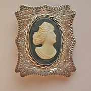 Antique Victorian Engraved Silver and Celluloid Cameo Brooch