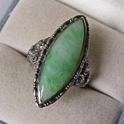 Stunning Art Deco Faux Jadeite Silver Cocktail Ring