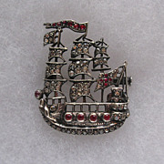 Antique French Silver and Ruby Paste Spanish Galleon Brooch