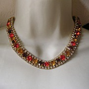 Beautiful Vintage Fall Colors Rhinestone Collar Necklace