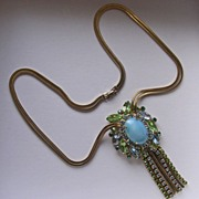 Large Vintage Rhinestone Pendant Necklace