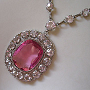 Beautiful Edwardian Pink Crystal Pendant Necklace