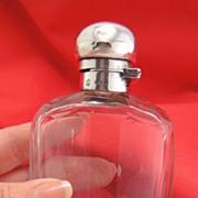 Antique Sterling Silver Cut Crystal Flask