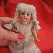 Antique Bisque Cabinet Doll Paper Weight Eyes ~ Closed Mouth