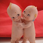 Antique Bisque Kewpie Huggers by Rose O'Neill Figurine Doll