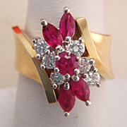 Estate 14K Gold Ruby and Diamond Dinner Cocktail Ring