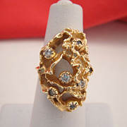 Fine Retro Vintage Estate 10K Yellow Gold Diamond Nugget Ring 10.3 grams!