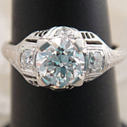 Antique Platinum .75  Transitional Diamond Art Deco Ring