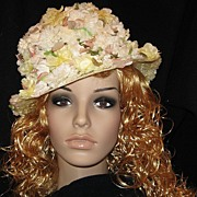 "Vintage 1960's Yellow and White Floral ""Edwards Original"" Hat GORGEOUS!"