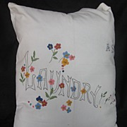 REDUCED Vintage 1940's Embroidered Laundry Bag Great for Display !