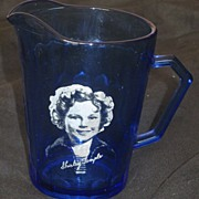 "REDUCED Vintage Atlas Glass Circa 1930's Cobalt Blue ""Shirley Temple"" Cream Pitcher"