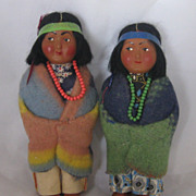 REDUCED Vintage Pair Of Skookum Indian Dolls Circa 1950's