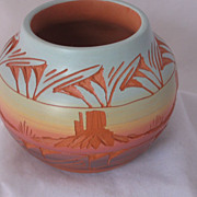 REDUCED Navajo Etched Monument Valley Pot Artist Signed