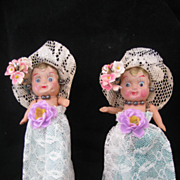 REDUCED Vintage Pair Celluloid Carnival Dolls All Original.