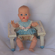 REDUCED Vintage Circa 1950's &quot;Dolly Tender &quot; Wooden Seat For 8 Inch Doll SWEET!