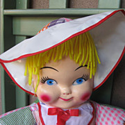 REDUCED Vintage Circa 1950's Large 19 Inch Cloth And Vinyl  Doll SWEET!