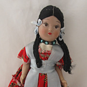 REDUCED Vintage Hispanic or Native American Ethic Doll Circa 1960's Too Sweet!