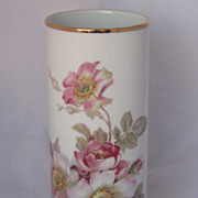 REDUCED Vintage Large West German Bavarian Pink Rose Porcelain Vase Beautiful!