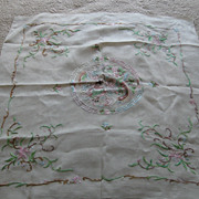 Vintage Large Chinese Hand Embroidered Silk Scarf AMAZING !