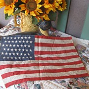 REDUCED Vintage Primitive 48 Star Flag 16 By 11 1/2 inches Perfect Size