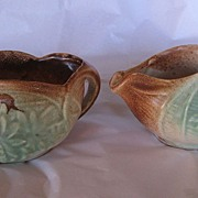 REDUCED Vintage McCoy Pinecone Creamer and Sugar Circa 1940's