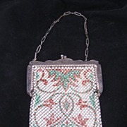 REDUCED Antique Enamel Mesh Purse Signed Mandalian Mfg. Co.
