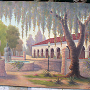 1940s Santa Barbara California MISSION Oil Painting Artist R.D. Valdes