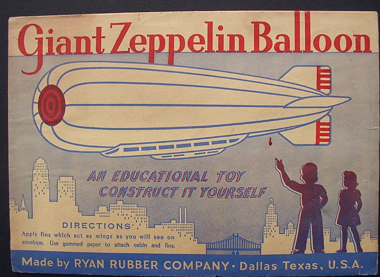 Zeppelin 1930's Balloon Paper Toy in Envelope
