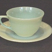 Fire-King Jane Ray Jadeite Cup & Saucer