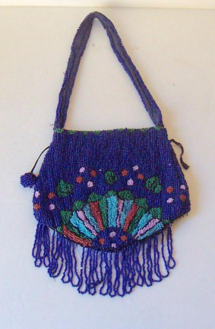 Beautiful Navy Blue Beaded Bag Made in Belgium