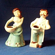 SALE Pair Signed Bennett & Bennett Pottery Figurines