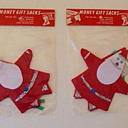 2 Vintage Felt Santa Christmas Money Holders Mint In Package