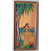 SALE Large Unusual Framed Hawaii Hula Girl Picture