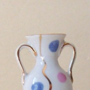 SALE Small Vintage Porcelain Bud Vase With Polka Dots