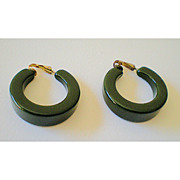 SALE LARGE Green Bakelite Hoop Earrings 1930's