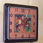"SALE Vintage Alarm Clock Black Americana ""Little Brown Koko"" Face"