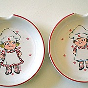SALE Pair (2) Vintage Campbell Kids Ceramic Spoon Rests