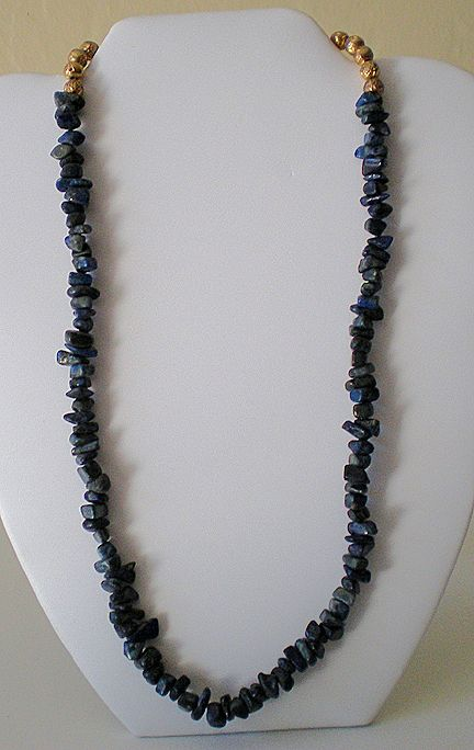 20 Inch Necklace Lapis Stones