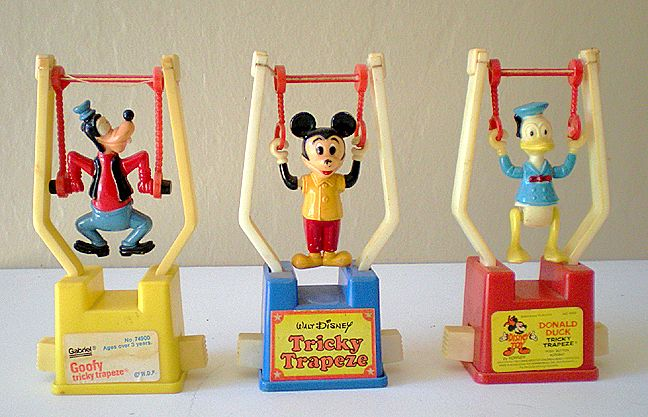 (3) Different Vintage Disney Character Trapeze Toys