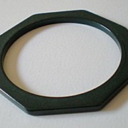 SALE Rare Deep Forest Green Bakelite Octagon Cut Bracelet