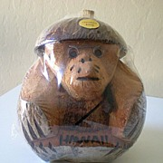 Carved Coconut Monkey Bank Hawaii