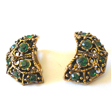Elegant Vintage Emerald Green Rhinestone Earrings