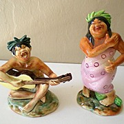 SALE Rare Pair Hawaiian Hula Figurines Signed Ucagco Japan
